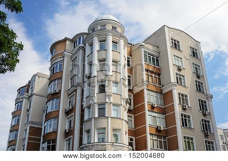 Top of beautiful many-storied modern residential building in Odessa Ukraine