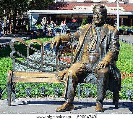 Odessa, Ukraine - September 02, 2016: Bronze sculpture of the famous artist Leonid Utesov