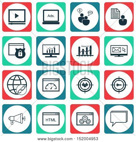 Set Of Seo Icons On Keyword Marketing, Coding, Loading Speed And Other Topics. Editable Vector Illus