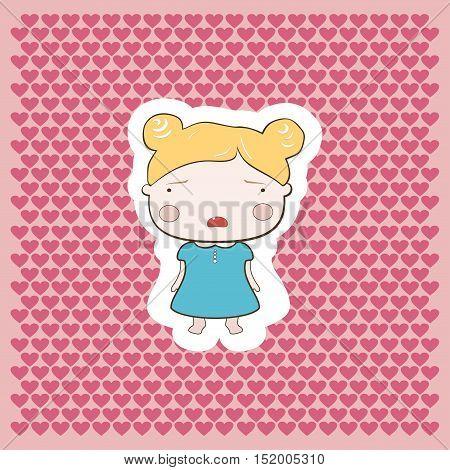 Cute Blonde Cartoon Style Cutout Cry Baby Girl