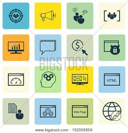 Set Of Seo Icons On Security, Website Performance, Website And Other Topics. Editable Vector Illustr