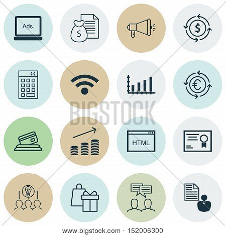 Set Of 16 Universal Editable Icons For Human Resources, Marketing And Education Topics. Includes Ico