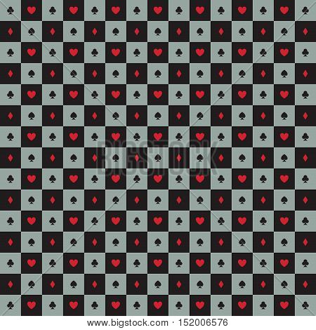 abstract poker background with some special objects clover diamond heart spade checkered