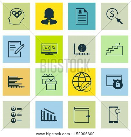 Set Of 16 Universal Editable Icons For Airport, Project Management And Human Resources Topics. Inclu