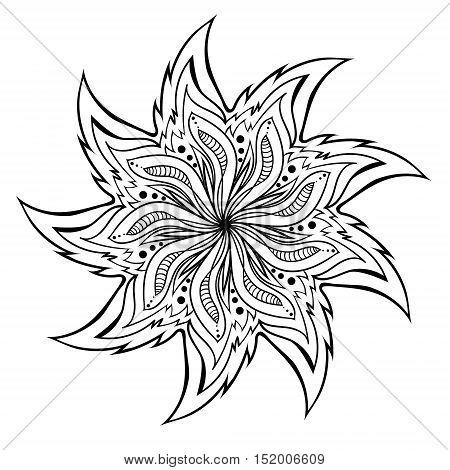Mandala Coloring Illustration black and white colorized