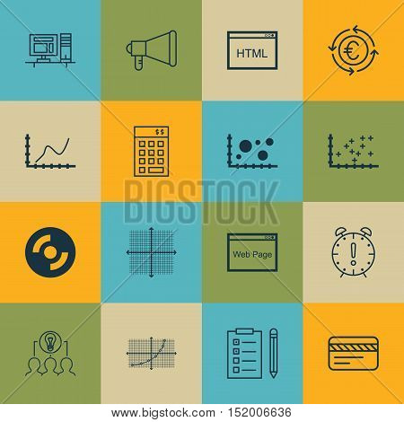 Set Of 16 Universal Editable Icons For Business Management, Seo And Project Management Topics. Inclu