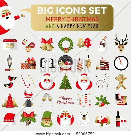 Big set of flat Christmas icons. Christmas and Happy New Year greeting card templates. Happy holidays. Flat vector illustration