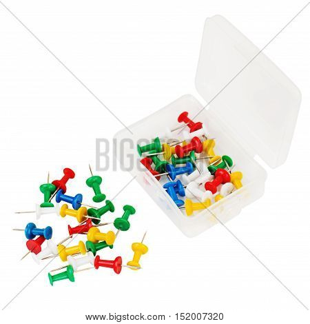 Transparent plastic box with thumbtacks isolated on white background.