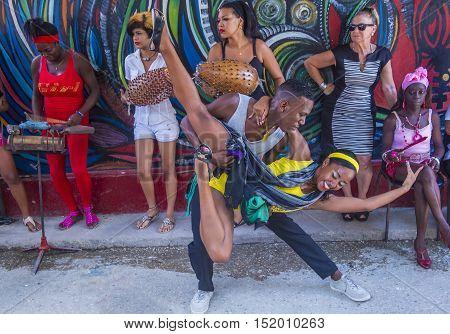 HAVANA CUBA - JULY 18 : Rumba dancers in Havana Cuba on July 18 2016. Rumba is a secular genre of Cuban music involving dance percussion and song. It originated in the northern regions of Cuba