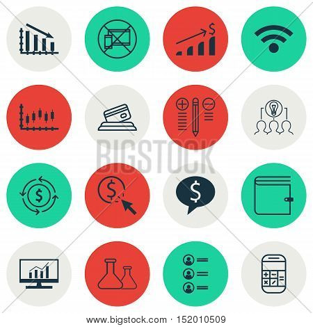 Set Of 16 Universal Editable Icons For Education, Business Management And Computer Hardware Topics.