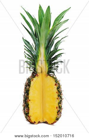 Ripe whole pineapple with a quarter cut isolated on white background.