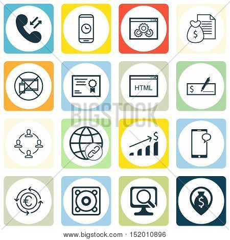 Set Of 16 Universal Editable Icons For Project Management, Human Resources And Computer Hardware Top