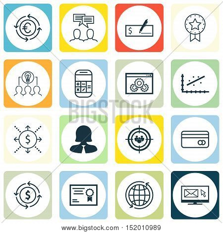 Set Of 16 Universal Editable Icons For Business Management, Human Resources And Education Topics. In