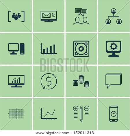 Set Of 16 Universal Editable Icons For Seo, Marketing And Statistics Topics. Includes Icons Such As