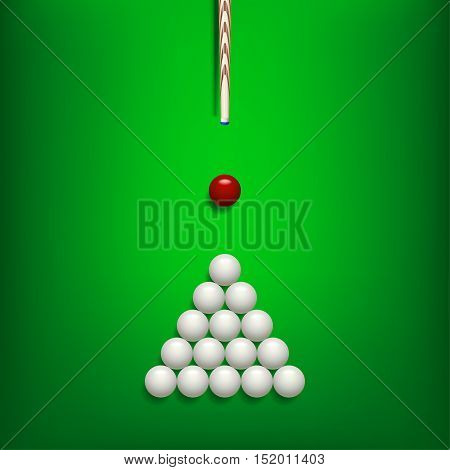 illustration of billiards balls on green billiard table and cue with shadows