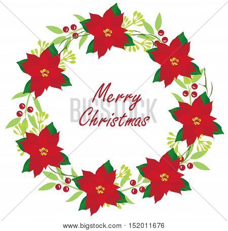 vector illustration of Christmas card holiday wreath with poinsettia flowers berries