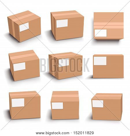 illustration of set of box in different views with shadow on white background