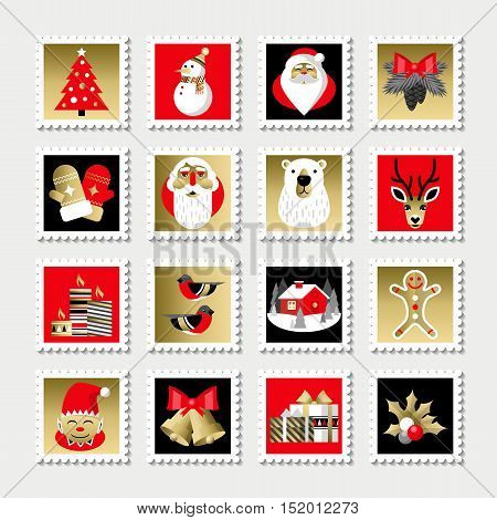 Set of Christmas stamps. Christmas Happy New Year holidays icons in flat design style