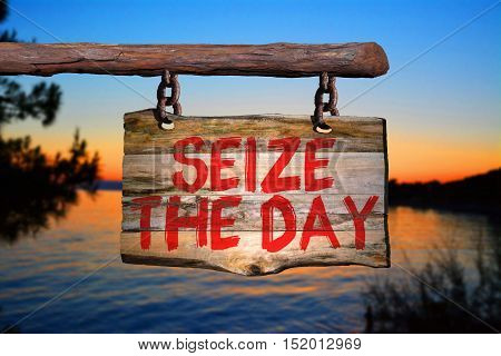Seize the day motivational phrase sign on old wood with blurred background