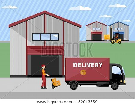 Warehouse management concept. Flat vector design style.