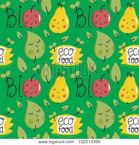 Eco food seamless pattern with various happy cartoon fruit characters isolated on green background. Natural eco friendly products and farm vegetarian food packaging. Healthy eating concept.