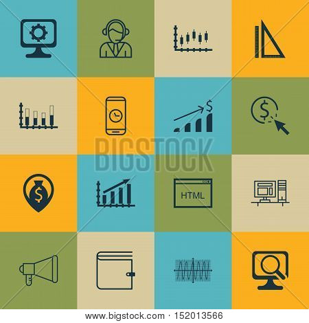 Set Of 16 Universal Editable Icons For Advertising, Seo And Project Management Topics. Includes Icon