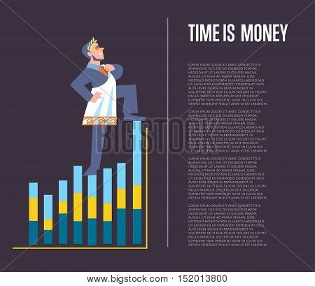 Time is money banner with businessman in roman toga and laurel wreath standing on graph, isolated vector illustration on perpl background. Business growth. Time management design template.