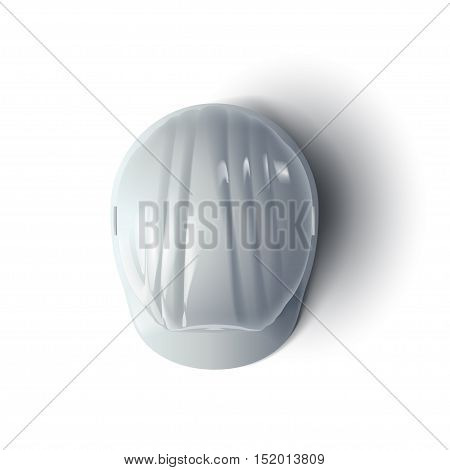 illustration of white color construction helmet with shadow on white background