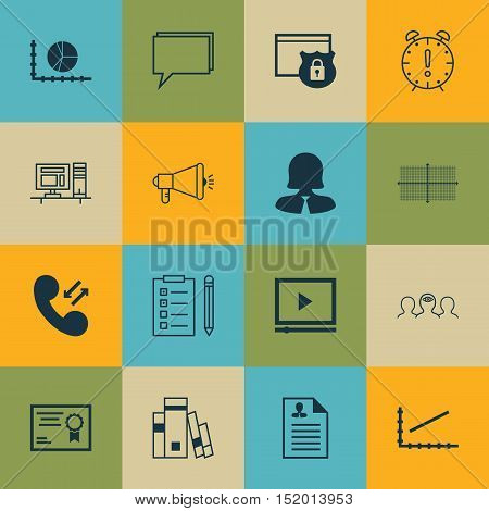 Set Of 16 Universal Editable Icons For Statistics, Marketing And Human Resources Topics. Includes Ic