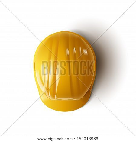 illustration of yellow construction helmet on white background with shadow