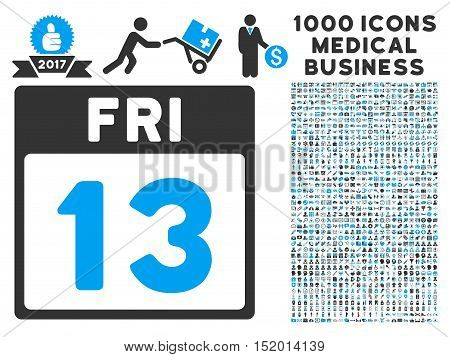Blue And Gray 13 Friday Calendar Page vector icon with 1000 medical business pictograms. Set style is flat bicolor symbols, blue and gray colors, white background.