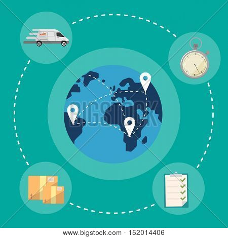 Blue globe with routes on green background. Fast delivery banner, vector illustration. Worldwide shipping and moving service. International postage concept. Global logistics
