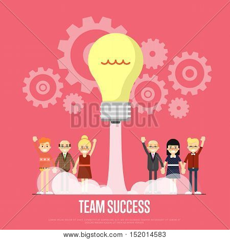 Group of smiling cartoon people with lightbulb start up like rocket, vector illustration on red background with gear mechanism. Team success banner. Starting new project, creative ideas. Business team