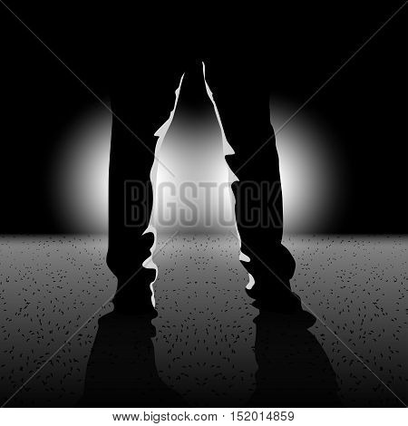 illustration of male silhouette legs standing in front of lights in the darkness