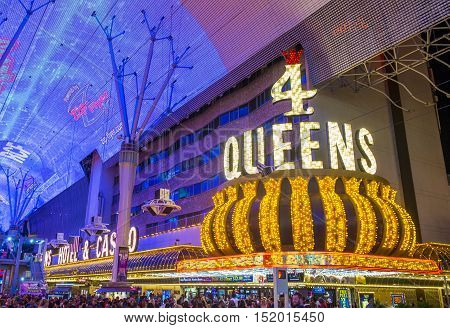 LAS VEGAS - JULY 04 : The 4 Queens Hotel and Casino in downtown Las Vegas on July 04 2016. The hotel opened in 1966 has 690 rooms and it part of the Fremont Street Experience