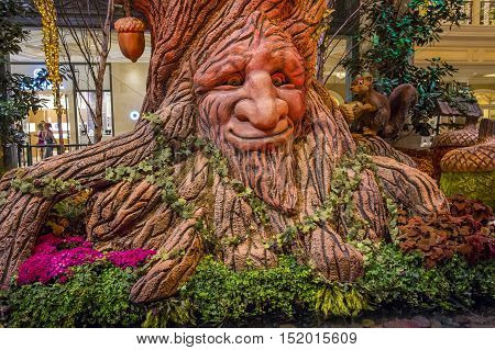 LAS VEGAS - OCT 05 : Fall season in Bellagio Hotel Conservatory & Botanical Gardens on October 05 2016 in Las Vegas. There are five seasonal themes that the Conservatory undergoes each year.