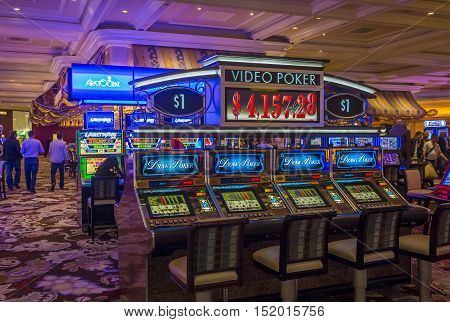 LAS VEGAS - OCT 05 : The interior of Bellagio hotel and casino on October 05 2016 in Las Vegas. Bellagio is a luxury hotel and casino located on the Las Vegas Strip. The Bellagio opened on 1998.