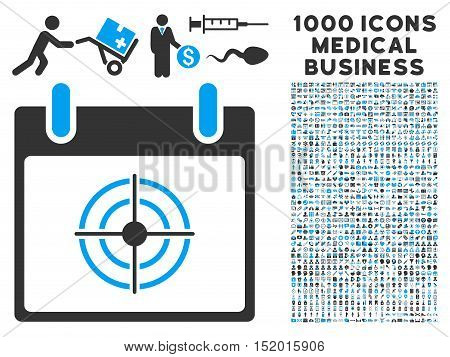 Blue And Gray Bullseye Calendar Day vector icon with 1000 medical business pictograms. Set style is flat bicolor symbols, blue and gray colors, white background.