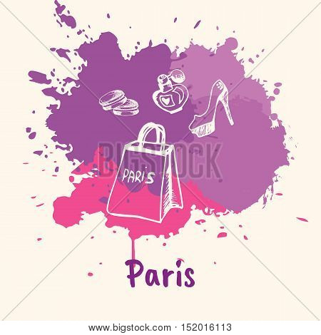 Bright impressions in Paris. Shopping bag, shoes, perfume doodles sketched white on pink and violet paint spot with splashes vector. Travel in Europe. Emotive touristic concept with woman's stuff
