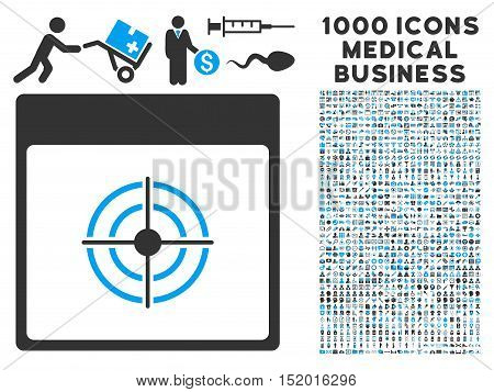 Blue And Gray Bullseye Calendar Page vector icon with 1000 medical business pictograms. Set style is flat bicolor symbols, blue and gray colors, white background.