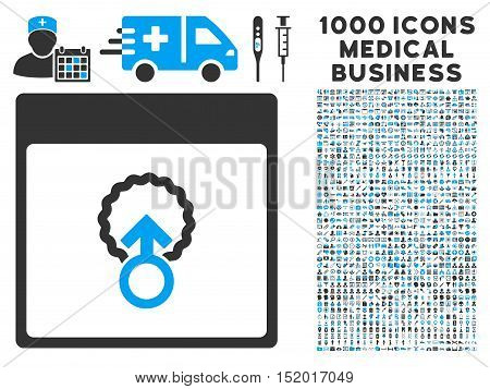 Blue And Gray Cell Penetration Calendar Page vector icon with 1000 medical business pictograms. Set style is flat bicolor symbols, blue and gray colors, white background.