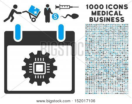 Blue And Gray Chip Gear Calendar Day vector icon with 1000 medical business pictograms. Set style is flat bicolor symbols, blue and gray colors, white background.