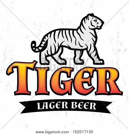 Bengal Tiger Beer logo vector. Lager Label design template. Predator insignia, Sport team logotype on light background