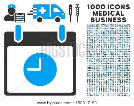 Blue And Gray Clock Calendar Day vector icon with 1000 medical business pictograms. Set style is flat bicolor symbols, blue and gray colors, white background.