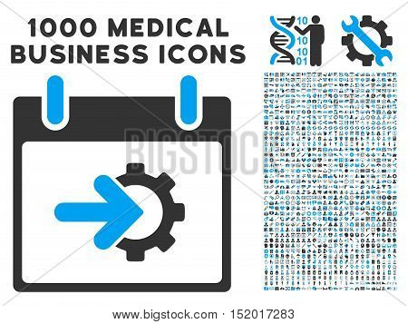Blue And Gray Cog Integration Calendar Day vector icon with 1000 medical business pictograms. Set style is flat bicolor symbols, blue and gray colors, white background.