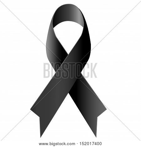Black ribbon mourning symbol on white background vector illustration.