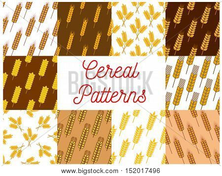 Cereal seamless patterns set of yellow ears of wheat, rye and barley with ripe grains. Agriculture harvest and bakery themes design