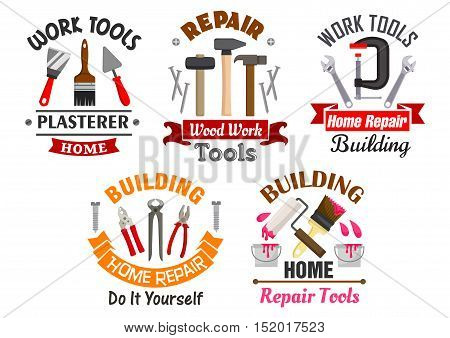 Building and repair tools badges set with hammer, pliers, trowel, spatula, adjustable wrench, paint brush and roller, clamp, framed by nails, fasteners and ribbon banner