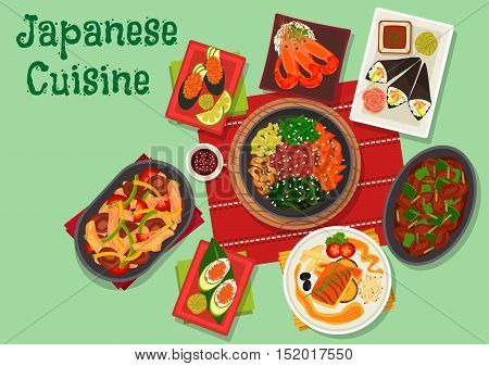 Japanese cuisine icon with gunkan and temaki sushi with avocado, shrimp and caviar, chilli prawn, fried perch, vegetable beef stew with mushrooms, spicy chicken liver, warm chicken salad with shiitake
