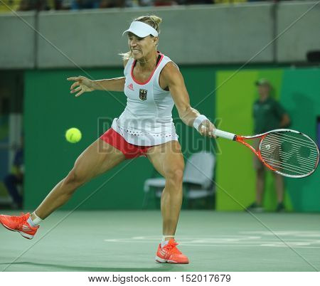 RIO DE JANEIRO, BRAZIL - AUGUST 13, 2016: Olympic silver medalist Angelique Kerber of Germany in action during tennis women's singles final of the Rio 2016 Olympic Games at the Olympic Tennis Centre